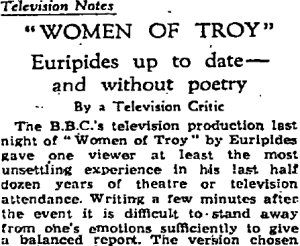 1958 BBC Women of Troy (Guardian review)